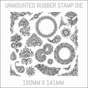 Henna Mehndi Floral Unmounted Rubber Stamp Die Card Making Scrapbooking - ST0502