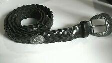 "Women's Black Braided Genuine Leather Belt w/ Conchos 36"" Total Length NWOT"