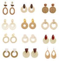 Fashion Women Acrylic Rattan Summer Geometric Ear Dangle Drop Earrings Jewelry