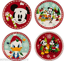 Disney Store Christmas Dessert Plates Mickey Minnie Mouse Donald Duck Melamine