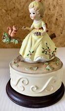 Vintage Ceramic Girl With Squirrel Figurine Music Box
