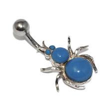 Piercing de nombril argent massif 925 motif araignée cabochon bleu bijou