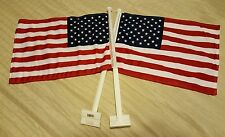 "2x USA AMERICAN CAR WINDOW FLAG 11""X 16"" HEAVY NYLON DOUBLE-SIDED BRIGHT COLORS"