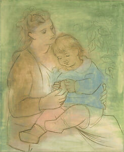 "Mother and Child (1922) Signed Pablo Picasso - 17"" x 22"" Fine Art Print - 00872"