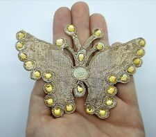 Indian Gold Butterfly Applique with Zari and Sequin Detail