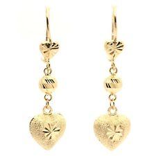 18k solid yellow gold heart dangling earrings