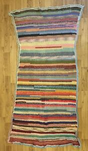 Vintage Hand Knitted Multicoloured Patchwork  Throw Blanket