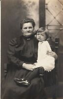 Vintage RPPC Real Photo Postcard - Mom and Child , parlor type portrait