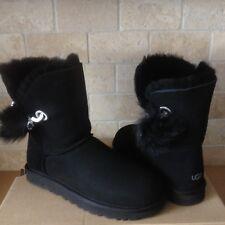 UGG Irina Swarovski Crystal Pin Toscana Pom Pom Black Suede Boots Size 8 Womens