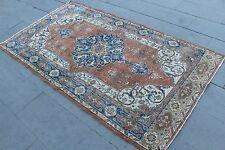 """Vintage Handmade Turkish Distressed Wool Red Area Rug Carpet 86""""x48"""""""