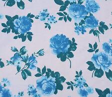 Cotton Lycra Blue Flower Print Fabric Jersey Knit by The Yard 4 Way Stretch 9/17