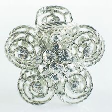 USA Quality Hair Claw Clip Hairpin use Swarovski Crystal Vintage Flower Silver 1