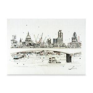 London Art A3 Print of Waterloo Bridge Hand Sketched