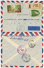 FRENCH GUINEE LABE REGISTERED to CHICAGO USA 50F AOF AIRMAIL + 5F 1957