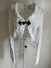 Internacionale Women's Cropped Cardigan Size 10 Cream Cable Knit Buckle Front