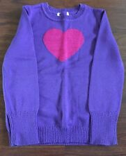 Pre-owned Girl's CHILDREN'S PLACE purple sweater with glittery pink heart sz 5