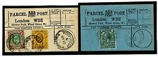 1536 1907-3 Go London * Bowes Park, Bois Vert * Parcel Post étiquettes Matched Pair