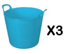 3 x 25L LITRE FLEXI TUB PLASTIC BUCKET TUBS STORAGE CONTAINER FEEDING TRUG BLUE