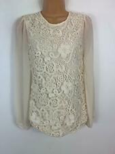 WOMENS OASIS CREAM SMART/CASUAL LONG SLEEVED LACE DETAILED T SHIRT TOP SIZE XS