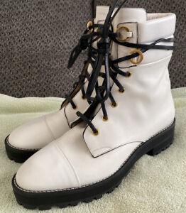 Stuart Weitzman The Lexy Combat Boots Snow White Leather Lug Sole 8M Retail $598