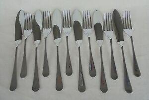 Vintage Set of 6 Stainless Steel Fish Knives & Forks