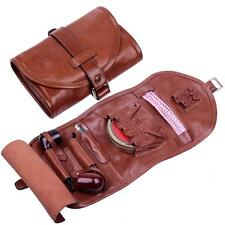 Real Leather Tobacco Smoking Pipe Pouch Bag Pipe Tool Lighter Holder for 2 pipe