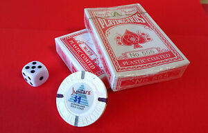 Collectable CONRAD Int'l JUPITERS CASINO $1 CHIP plus Generic Cards & Die Combo