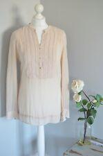 MADELEINE Nude silk beaded blouse UK 10