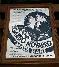 "Large Vintage Greta Garbo ""Mata Hari"" MGM Film Pub Mirror 20"" by 24.75"""