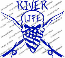River Life,Fishing,20+Colors Avail,Fishing,Skull,Angler,Kayak,Vinyl Decals
