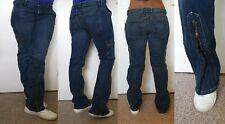 woman blue mid-rise denim straight leg ankle zip distressed jeans uk size 10-12