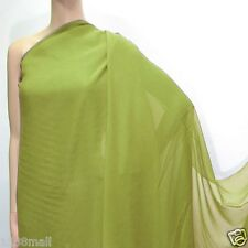 2 Yards Dark Lime Juice Green Pure Silk Georgette Chiffon Fabric #209 For Sale
