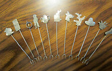 Hors D'Oeuvre pics/ Forks Appetizer silver w  S.W.Indian designs - Lot of 11 VGC