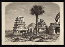 Antique print pagoda Shore temple Mahabalipuram India 1870 / free mount