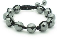 UNIQUE MACRAME FACETED HEMATITE STACKABLE BEAD DISCO BALL BRACELET NEW GIFT HOT!