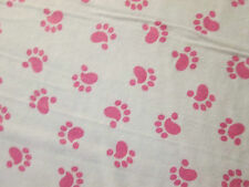 DOG PAW PRINTS PAWS PRINT PINK FLANNEL FABRIC FQ OOP