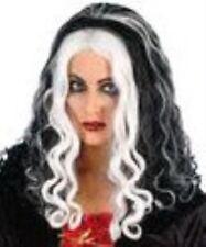 Black Queen Witch Wig With White Streak Halloween Fancy Dress P416