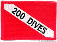 200 DIVES - EMBROIDERED SCUBA DIVING FLAG PATCH IRON-ON DIVE EXPERIENCE EMBLEM