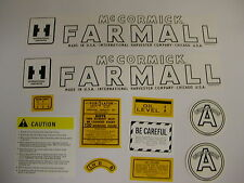 IHC Farmall Model A Cultivision Tractor Decal Set - NEW FREE SHIPPING