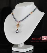 Formal Black Grey Freshwater Pearl necklace Swarvoski element Bridal Wedding