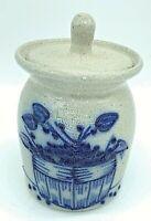 "Salmon Falls Stoneware Blueberry Basket Crock Lid 1993 Blue Gray Salt Glaze 4"""