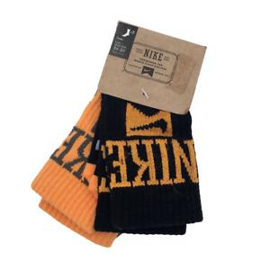 New Nike Kids Boys Girls High Crew Socks 2-Pair Socks Size 3Y-5Y Black Orange