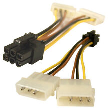 Dual LP4 4Pin Molex IDE to 6 Pin PCI Express Female Power Adapter for Video Card