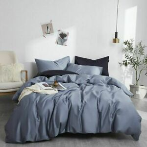 Multi Color Bedding Set Grey Soft Duvet Cover Fitted Bed Sheets Pillowcase 4PCS