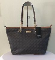 NEW Jones New York Handbag Tote Purse Brown Logo Shoulder Bag NWT $89.