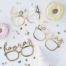 GINGER RAY GOLD FOILED HOORAY FUN GLASSES X8 BRAND NEW