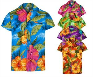 MENS HAWAIIAN SHIRT HIBISCUS FLORAL STAG BEACH HOLIDAY SUMMER FANCY DRESS S -2XL
