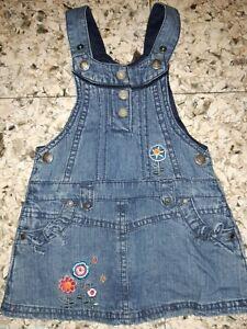 GIRLS Sz 1 blue TARGET denim dress CUTE FLORAL EMBROIDERY!