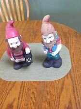 Lot of Two Vintage 1992 & 1994 Art Line Rubber/Vinyl Garden Elf Gnome Dwarfs