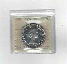 **1959**, ICCS Graded Canadian Silver Dollar **PL-66 Heavy Cameo**